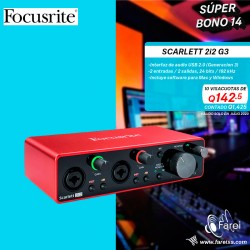 2I2 G3 SCARLETT FOCUSRITE INTERFAZ DE AUDIO USB  DE 2 CANALES