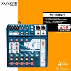 NOTEPAD 8FX SOUNDCRAFT CONSOLA E INTERFAZ DE AUDIO DE 8 CANALES