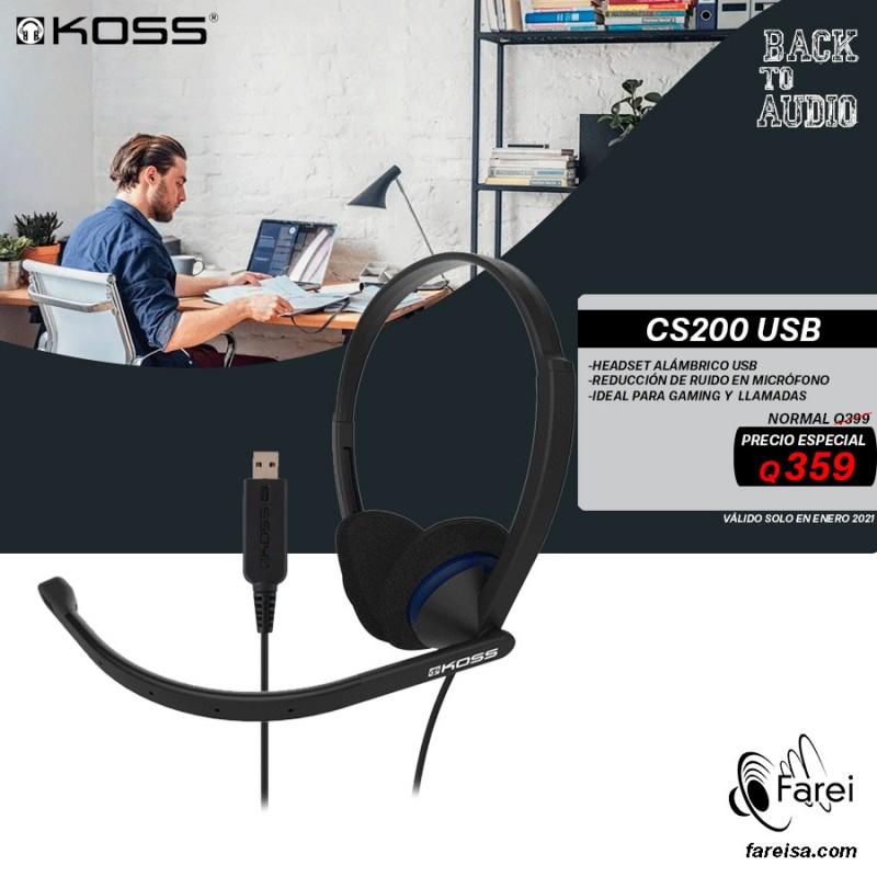 CS200 USB KOSS HEADSET BINAURAL USB CON MICROFONO