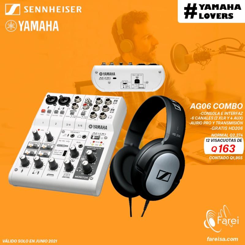 COMBO YAMAHA AG06 + SENNHEISER HD206