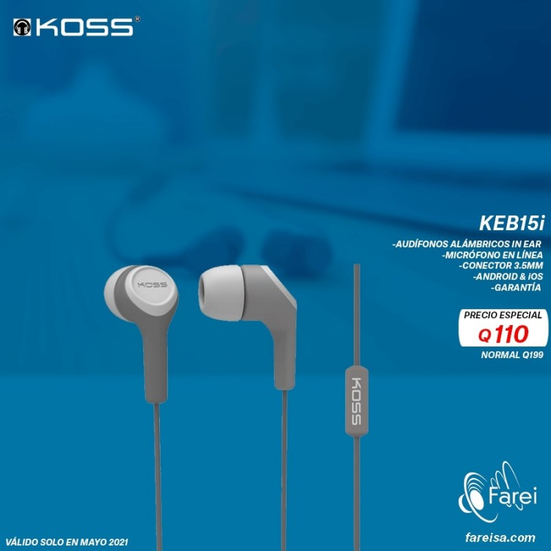 KEB15I KOSS AURICULARES ALABRICOS IN EAR PARA ENTRETENIMIENTO