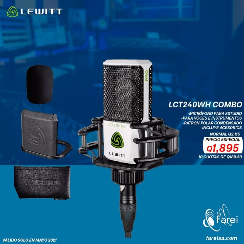 LCT240WH PRO COMBO LEWITT MICROFONO PROFESIONAL DE CONDENSADOR