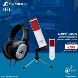 COMBO MXL TEMPO + SENNHEISER HD206 PODCAST
