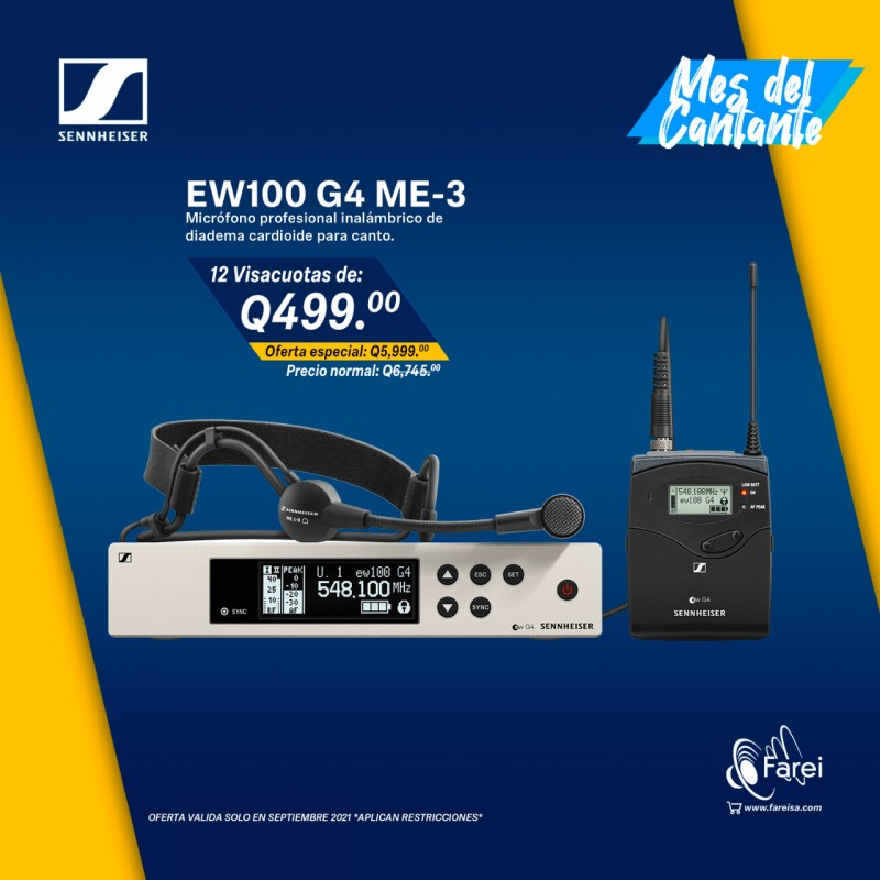 EW100 G4-ME3 SENNHEISER MICROFONO INALAMBRICO PROFESIONAL DE DIADEMA