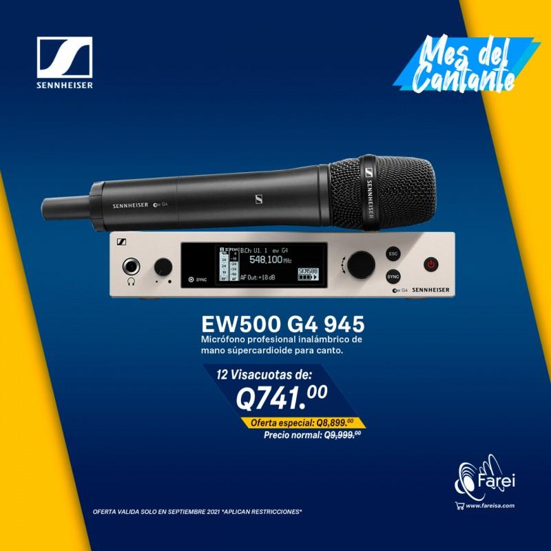 EW500 G4-945 SENNHEISER MICROFONO PROFESIONAL INALAMBRICO DE MANO SUPERCARDIOIDE