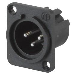 NC3MPP Conector de chasis negro XLR macho