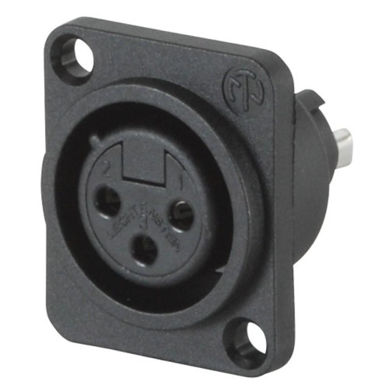 NC3FPP Conector de chasis negro XLR Hembra