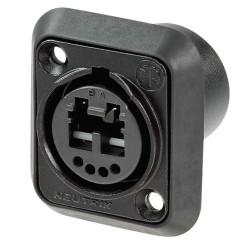 NO2-FDW-A Conector de chasis 4 contactos de soldadura y 1 zócalo de alimentación LC-Duplex, a prueba de agua IP65