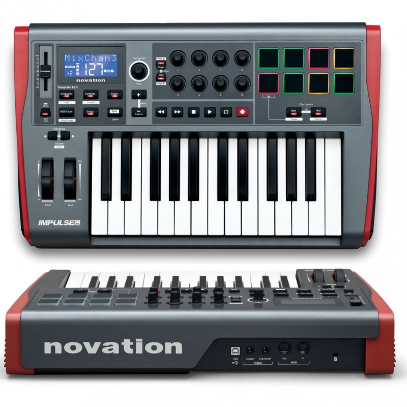 IMPULSE 25 NOVATION CONTROLADOR MIDI USB DE 25 TECLAS