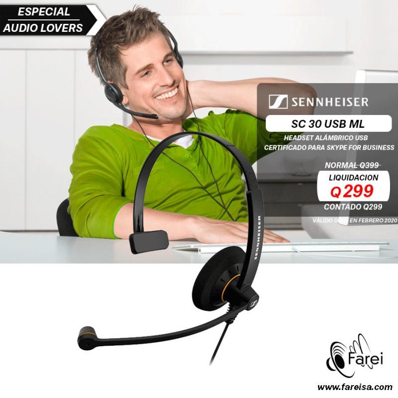 HEADSET MONOAURAL DE BANDA ANCHA SENNHEISER SC-30 USB ML