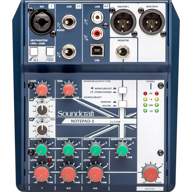 NOTEPAD 5 SOUNDCRAFT CONSOLA ANALOGA DE 5 CANALES