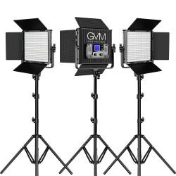 50RS3L GVM KIT DE 3 LUCES LED RGB BICOLOR PARA ESTUDIOS DE VIDEO Y FOTOGRAFIA