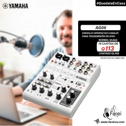 AG06 YAMAHA CONSOLA DE AUDIO E INTERFAZ DE 6 CANALES
